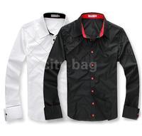Fashion Men's Casual Shirts Slim Fit Stylish Cotton Long Sleeve Male Dress Shirts Luxury White/Black M L XL