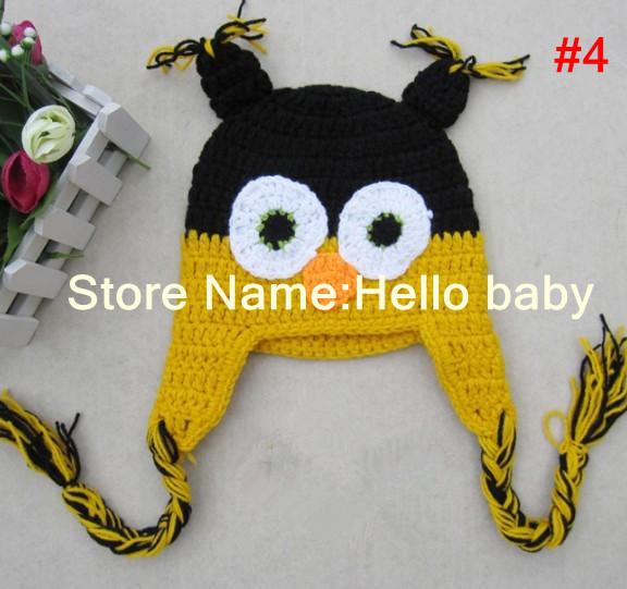 Baby Crochet Cute Owl Hat Black And Yellow Hat(China (Mainland))