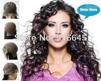 """Wholesale Lace front stretch lace back wig,Brazilian virgin remy hair  8""""-24"""",water wave,#1B off black,free ship"""