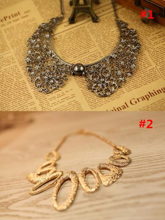 Hot Selling New Fashion Mixed Style Bib Choker Necklace 2 Styles U pic(China (Mainland))