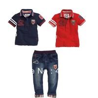 Wholesale 6 sets/lot new Arrive baby boy summer 2pcs/set(t shirt+jeans) clothing sets children outfits baby clothes sets/suits