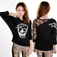 The bat sleeve skull T-shirt Cozy trendy women clothes Back lace Skull print Tops Tees F4304