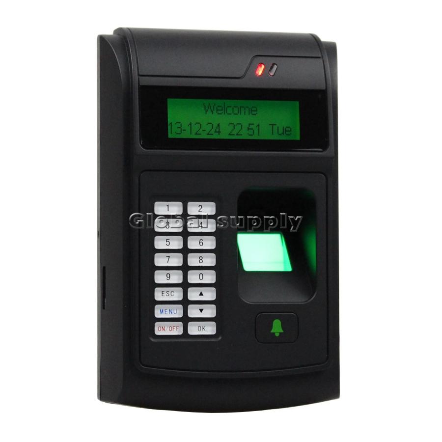 Pin porta il codice lcd biometrico di impronte digitali di controllo di accesso + 125 kHz rfid id lettore di schede con usb/campanello pulsante nuovo di zecca