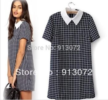 QZ735 Нового Мода Женская повседневная клетчатые платья с отложным воротником с коротким ...