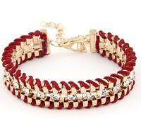 Standout Rhinestone Fabric Weave Chain Bracelet Fashion Statement  Chain Bracelet cxt81820