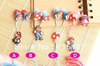 Wholesale Earphones 100pcs/lot Hot selling classic games Super Mario earphones 3.5mm In-Ear Cute headphones