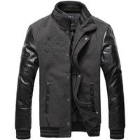 Slim PU thickening cotton-padded jacket grey 1365 p115