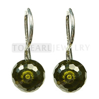 Topearl Jewelry 8mm Faceted Olive Green CZ 925 Sterling Silver Hook Earrings 9SE11