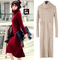 2015 Casual Winter Women Long Dresses Woman Wool Sweater Dress Clothes Vestidos Chinese Doughnut Stripe Sweater Dress FZ0131