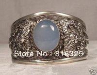 FREE SHIPPING>>>Rare Tibet Silver Moonstone jade Cuff Bracelet