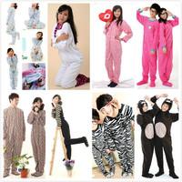 Women Men Female Male Polar Fleece Animal Leopard Hooded Footed Onesie Pajamas for Adults with Hoods Ears Couple Family Pyjamas