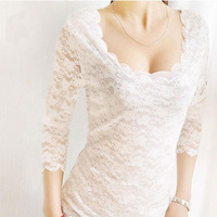 Women's Sexy Transparent Exquisite Lace Full Lace Long-sleeved T-shirt Bottoming Shirt Double Layer Shirts