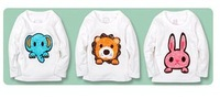 Hot Sale Boys Girls Spring T-shirt Animal Cartoon Longsleeve Cotton Kids Clothes Free Shipping