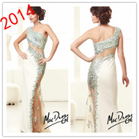 Asymmetrical One-Shoulder Sequins Beading Sheath Sheer Tulle Floor Length Evening Dresses Ivory MC1407