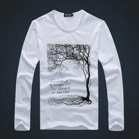 2013 T-shirt autumn long-sleeve thin men's clothing male t-shirt Men clothes 100% cotton o-neck white