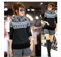 Free Shipping 2014 Autumn/Winter All-Match Dot Snowflake Turtleneck Slim Long-Sleeve Sweaters Women