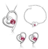 Popular Crystal Heart Necklace Stud Earring Bracelet Fashion Women Childrens Jewelery Set  Kids Gift!! J26