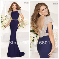 Free Shipping New Custom Made Beading Mermaid Satin Open Back Formal Evening Dresses