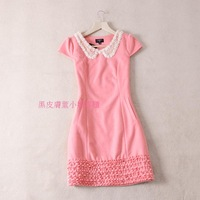 Sweet elegant ol lace crotch false collar woolen laciness one-piece dress