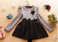 Sweet long-sleeve woolen quality puff skirt one-piece dress