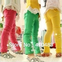 RK0019 Retail child pants fashion broken hole pencil baby trousers 3 candy color girls skinny legginfs hot sale free shipping