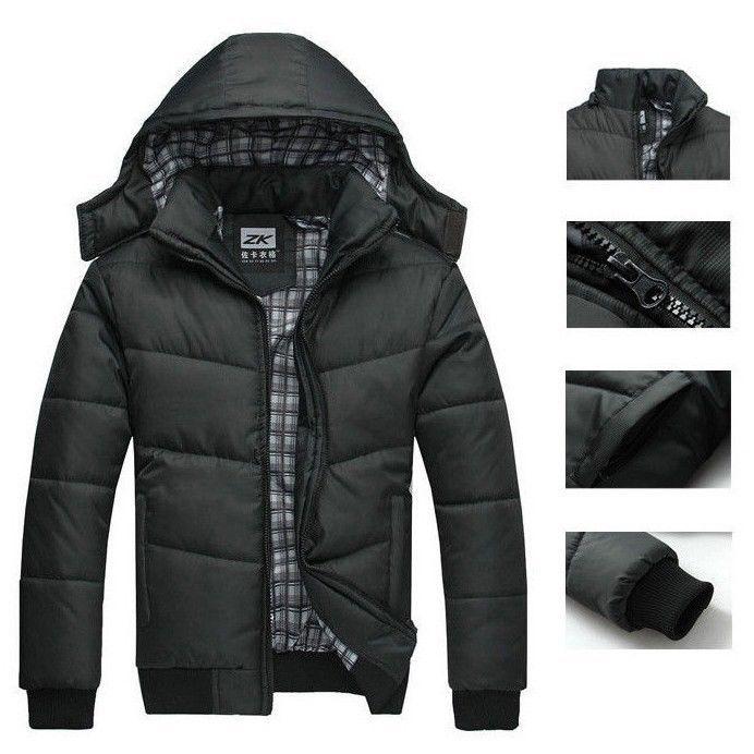 winter coat men quilted black puffer jacket warm fashion. Black Bedroom Furniture Sets. Home Design Ideas