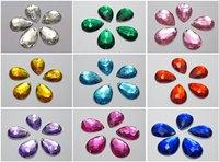 100 Mixed Colour Flatback Acrylic TearDrop Rhinestone Button 18mm Sew on beads