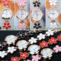 Casual Fashion Women's Girl Sweet Daisies Flower Rose Gold Bracelet Wrist Watch Quartz Gift 19753