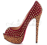 Wholesale Women's autumn EU & US model shoes peep-toe leopard bottom high  heel platform shoes top grade nightclubs autumn shoes