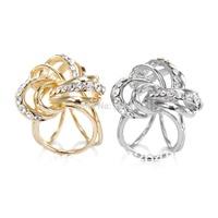 Rhinestone Knot Silk Scarf Ring Buckle Silver Gold 2pcs/lot Wholesale Fashion Scarf Jewelry Women Scarf Free Shipping