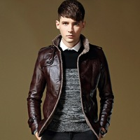 Leather men autumn winter men fur collar thickening and wool leather coat of cultivate one's morality men's leather jacket