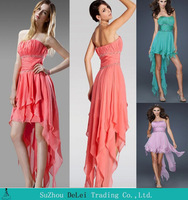 Beautiful Beaded Short Front Long Back Pink Prom Dresses 2014