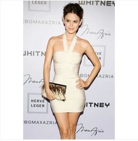 2013 new women's dresses stars loves sexy halterneck backless bodycon white evening dresses bandage dresses XS S M L