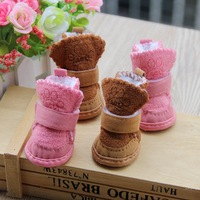 4PC/Set Pet Dog Cat Cotton Shoes Spring Autumn Winter Non-Slip Warm Snow Boots 2Color 5Sizes Free Shipping