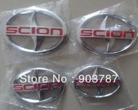 100pcs ABS chrome SCION stick emblem black red scion front rear badge boot badges universal