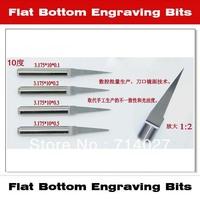 Free Shipping-3.175mm 10 Degree 0.2mm Flat Bottom Cutting Tool Bits V Shape Carbide Engraving Tools Milling Cutters 10pcs/lot