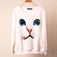 2013 New Sweatshirt Fashion Cat 3D Print plus Size Pullover Spring And Autumn Female Basic Shirt  Hoodies