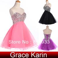 Free Shipping 1pc/lot Grace Karin Black/Watermelon Red/Purple High Low Glittery Prom Dress CL4105