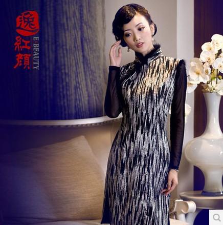 Improved Chinese dress cheongsam autumn & winter wear qipao dress(China (Mainland))
