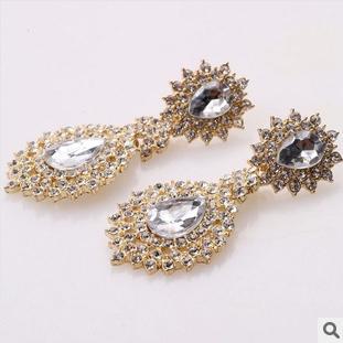 Rhinestone Fashion 2014 New Crystal Drop Earrings Big GemClear Ladies Sexy Drop Earrings Crystal 1 Pair