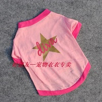 10 pieces/LOT Pretty Pet Cat Dogs Dog Star pink cotton T-shirt clothes