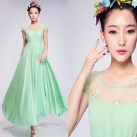 Saia vestidos 2013 New Fashion Autumn-Summer Women Novelty Solid Color Lace PATCHWORK Pluz size Chiffon Long Dress Saia