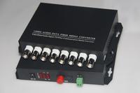 FedEx/EMS Free Shipping, 1pair 8 channel video/data/Audio fiber optic media converter,8v1d,RS485,FC,Single mode,Anti-lightning!
