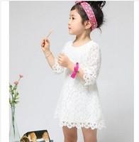 wholesal New Fashion Korean baby girls spring summer princess dress girls lace dress kids children's beautiful solid white dress