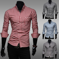2014 hot sale Free Shipping New Mens Shirts Casual Slim Fit Stylish Mens Dress plaid Shirts ZC65