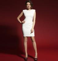 2014 autumn and winter new design elegant all-match women novelty dresses knitted cotton sleeveless brand white dress