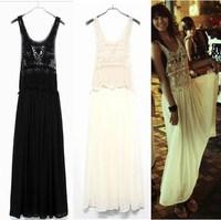 2014 Spring Hawaii Holiday Long Maxi Gowns Girls Cute Crochet Lace Chiffon saias longas femininas Casual Beachwear Dress clothes