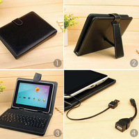 Free Shipping!!Russian and English 7 inch keyboard case for android tablet with USB 2.0 and micro USB post