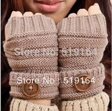 Free Shipping! Winter Women Wool Arm Gloves button Knitted Mitten Lengthen Half-finger Gloves(China (Mainland))