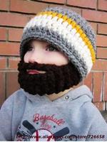 Handmade knitted hot-selling male knitted hat fake beard cap Christmas hat Factory direct handmade crochet children beard hat